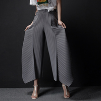 FREE SHIPPING Summer Pants Miyake Pleated Casual Pants Irregular Loose Pants Female Trousers IN STOCK