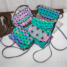 hot deal buy 2018 new fashion patchwork geometric messenger bag for women luminous holographic geometric bag