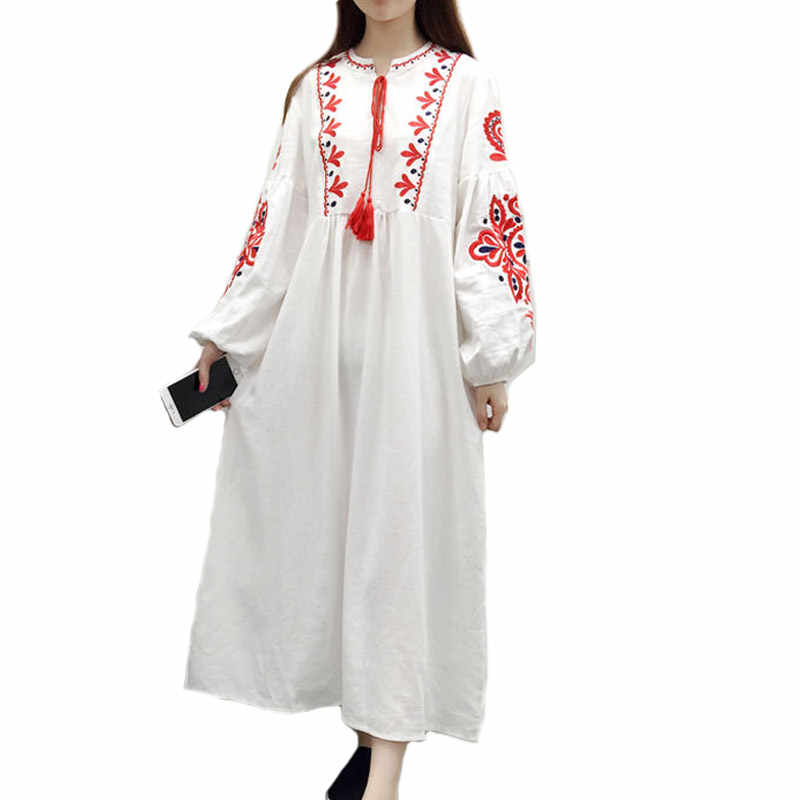 Plus Size Loose Bohemia Embroidery Dresses 2019 New Ethnic ...
