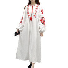 Plus Size Loose Bohemia Embroidery Dresses 2019 New Ethnic Vintage Women Lantern Sleeve Floral Embroidered A Line Cotton Dress