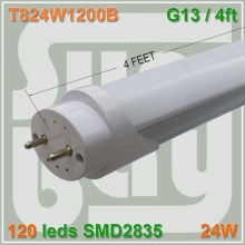 50pcs/lot free shipping Super bright 120leds SMD2835 24W 4FT LED TUBE T8 lamp 4foot 1200mm 120cm G13 frosted transparent cover