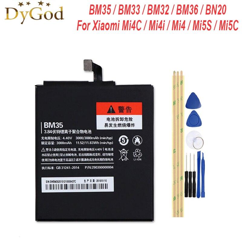 DyGod BM35 BM33 BM32 BM36 BN20 4 4C 4C Bateria Para Xiao mi mi mi mi mi mi 4i 5C mi Bateria do Acumulador AKKU PIL 5S Substituição + Ferramentas