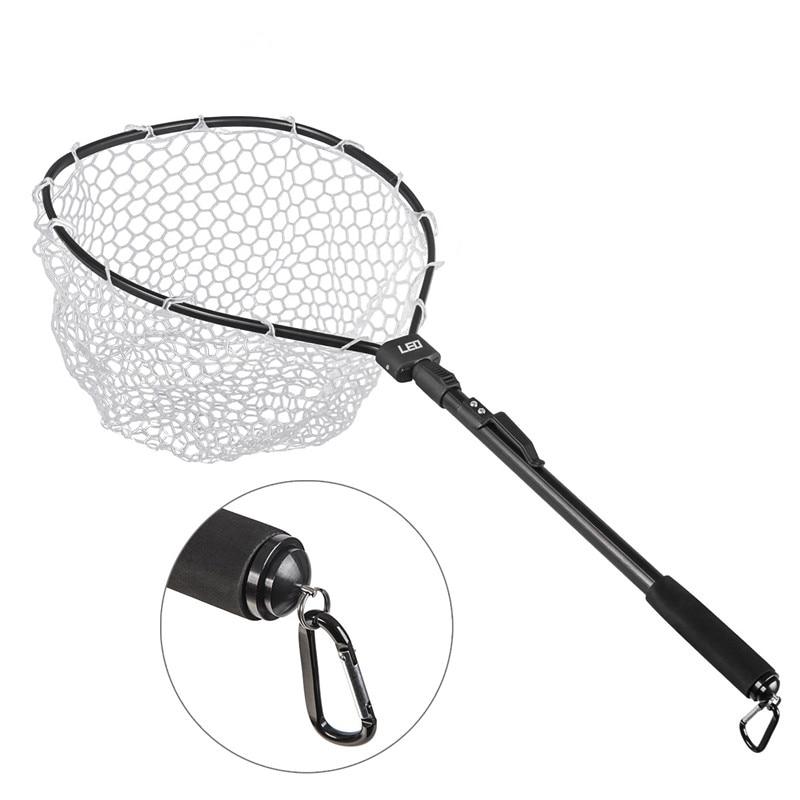 Aluminum Alloy Fast Folding Hand Nets Rubber Net Outdoor Sports Fly Fishing Net Black