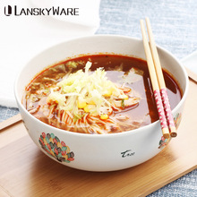 LANSKYWARE Chinese Colorful Pattern Ramen Bowl Kitchen Eco-Friendly Bamboo Soup Rice Bowl Kids Fruit Salad Bowls Food Container classical cherry blossom ceramic bowl set with bamboo chopstick fruit salad rice soup ramen bowl water tea cup kitchen tableware