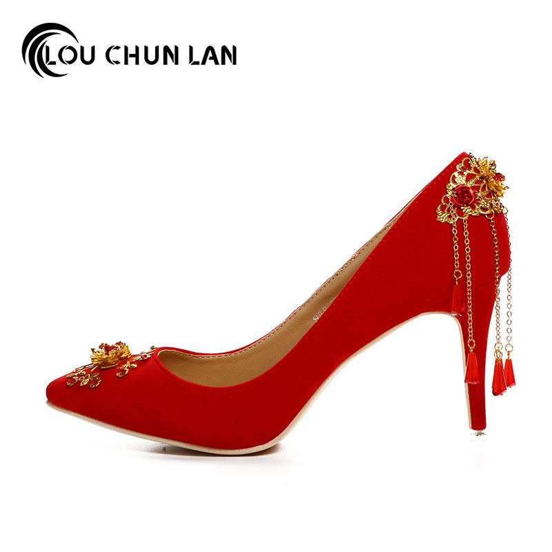 LOUCHUNLAN Red velvet chinese style wedding shoes pointed toe bridal shoes  high heeled tassel gold flower formal dress shoes -in Women's Pumps from  Shoes on ...