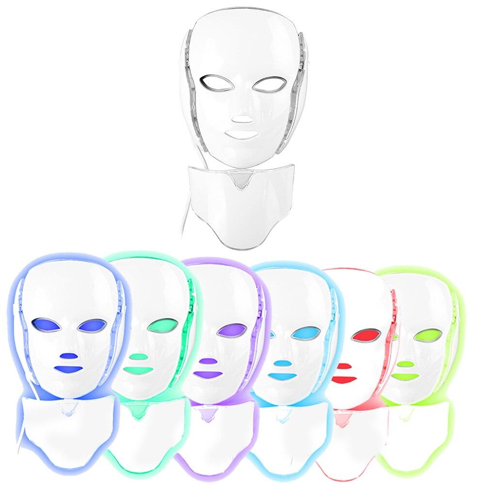 Masque de luminothérapie Led Photon masque visage Machine 7 couleurs cou beauté masque Led proactif soins de la peau acné Kit US UK EU Plug