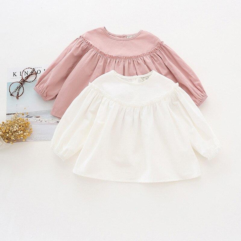 Girl's Doll Shirt  Kid's Wooden Ear Lantern Sleeves Shirt Cotton Shirt Fold Sleeve