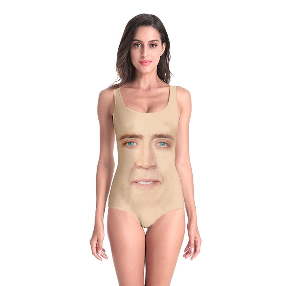 New Sleeveless Swim Suit Sexy 3D Beach Style Suit Printed Girl Swimsuit One Piece Swimwear women Cosplay Nicolas Cage Funny-1