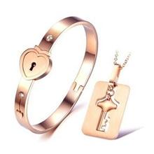 Un Amante Pareja Love Lock Corazón Pulseras Brazaletes Sistemas de La Joyería de Acero Inoxidable Collar Colgante de Parejas Clave