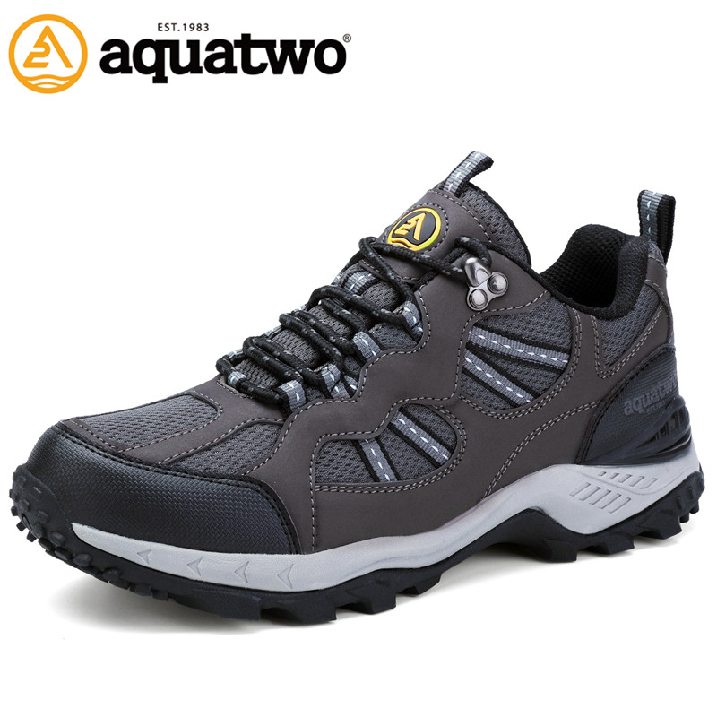 AQUA TWO Outdoor Men Sports Walking Shoes Genuine Leather Breathable Camping Sneakers Athletic Trekking Lace-up Shoes HDS-101304 peak sport men outdoor bas basketball shoes medium cut breathable comfortable revolve tech sneakers athletic training boots