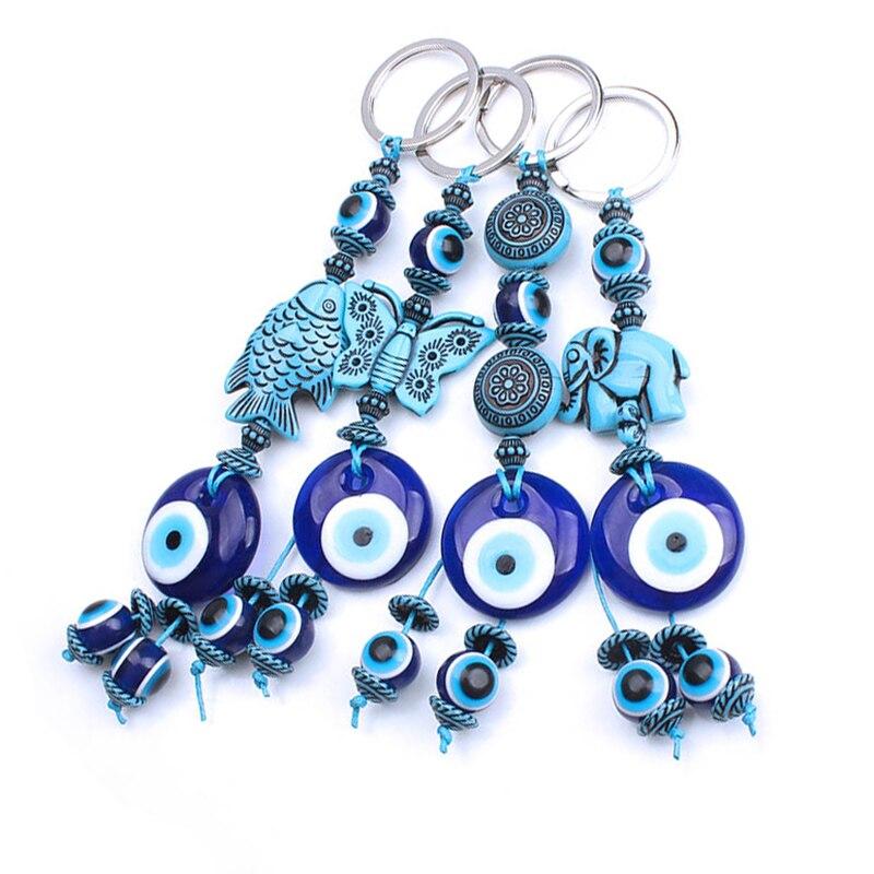 1 Pc Türkei Evil Eye Blau Schlüsselbund 4 Stil Harz Tier Fisch Elefant Schmetterling 14mm Evil Eye Blau Perlen Mit Glas Runde Auge Schlüssel