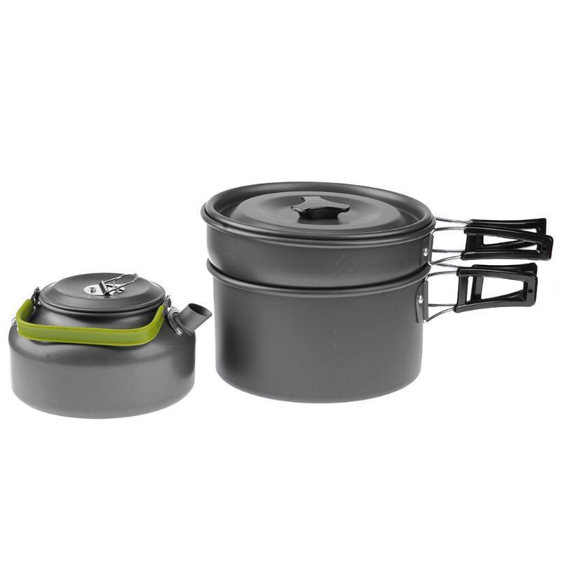 Image 4 - 3Pcs/Set Outdoor Camping Takebleware Portable Hiking Picnic Teapot Pot Set Cookware Mess Kit Cookware Set-in Outdoor Tablewares from Sports & Entertainment