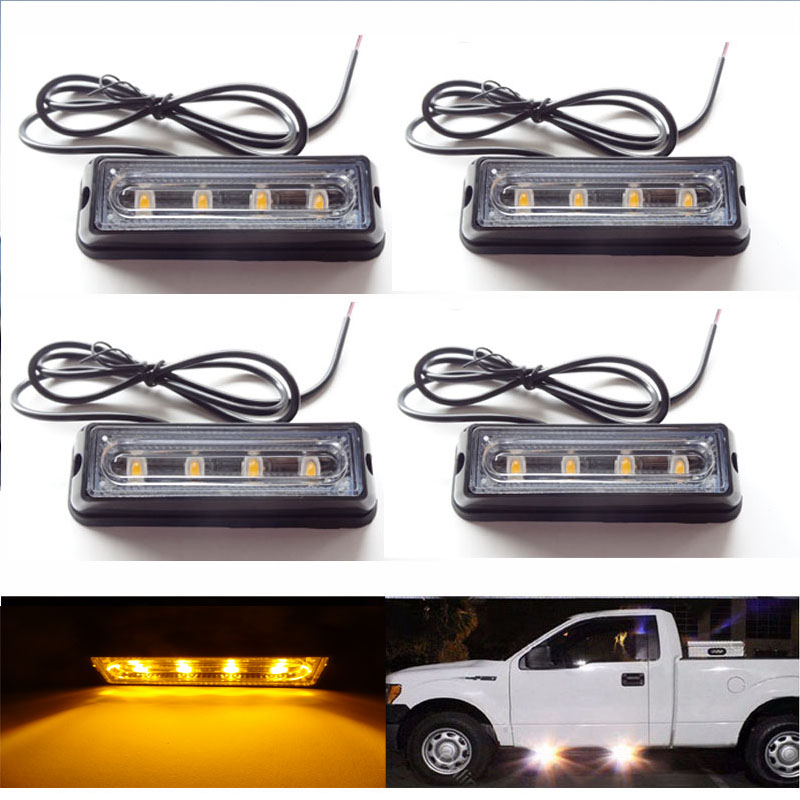 Super mirror 4X4LED Mini Compact side or Front rear surface mount Strobe LightPickup truck suv fire emergency parking lights car suv truck 12led side emergency