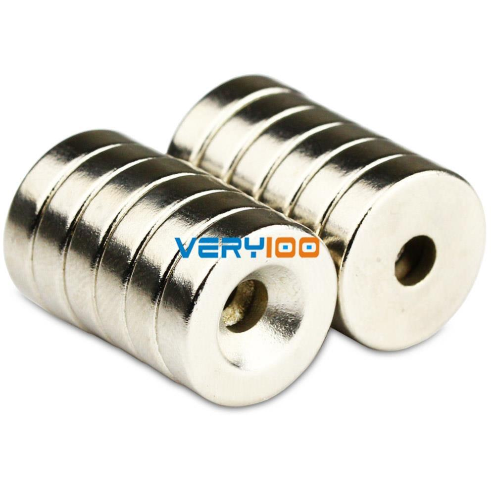 N50 Strong Round Neodymium Magnets Countersunk Ring 5mm Hole 20x4mm X5
