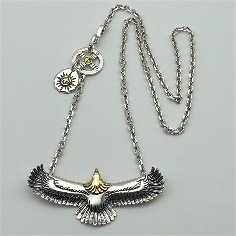 Handmade Solid Silver 925 Eagle Pendant Necklace Men Women Vintage Indian Style Top Fashion Real 925 Sterling Silver Jewelry genuine solid silver 925 eagle pendant charms for necklace bracelet men women indian vintage style gold head designer jewelry