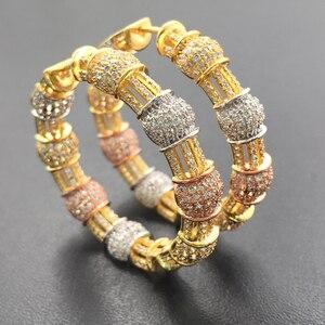 Image 1 - Lanyika תכשיטים יוקרה מוגזם קלאסי גדול כבד אוזן לולאות מיקרו מצופה עגילי חתונה כלה יומית הטוב ביותר מתנה