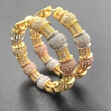 Rlika مجوهرات الأزياء الفاخرة مبالغ فيها الكلاسيكية الكبيرة الثقيلة الأذن الحلقات مايكرو مطلي أقراط الزفاف الزفاف اليومية أفضل هدية