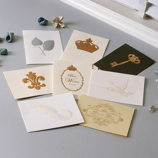Vintage Crown,Dove,Key,Feather,Butterfly,Thank You Cards Exquisite