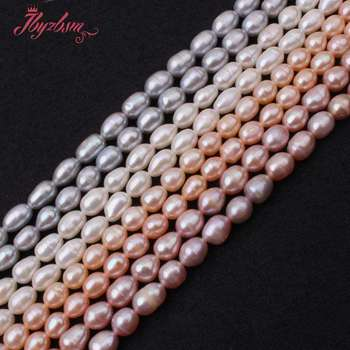 66fa6ff27bf1 5-6mm Oval cultivadas de agua dulce perla cuentas de piedra Natural para  DIY collar de pulseras de joyería haciendo Strand 15