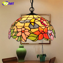 FUMAT Stained Glass Pendant Lamp Tiffany 12 Inch LED Hanging Lighting Fixtures luminaria Bird Art Light pendant Lamps