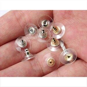 100 шт./лот, силиконовые Серьги-пусеты с золотыми гайками, затененные задними ушками, затычки для стопоры для сережек, аксессуары для ювелирны...