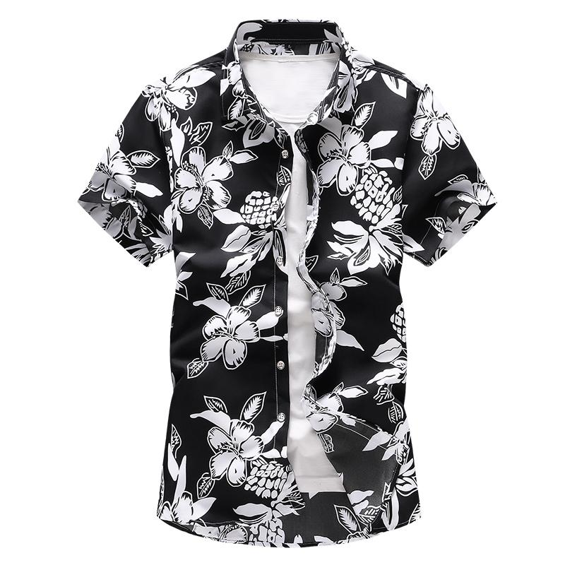 Hawaiian Shirt Camisa Casual Blouse Men Blue Red black Large size M 7XL Floral Plant Mens Shirt Short sleeve Summer Dress Flower in Casual Shirts from Men 39 s Clothing