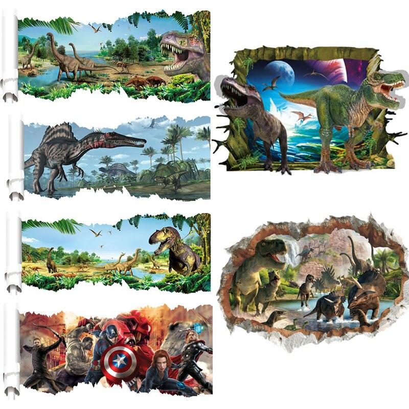 Bande dessinée 3d Vivid Cassé dinosaure Stickers Muraux Stickers Art Enfants Chambre Décoration Enfants Affiche Murale