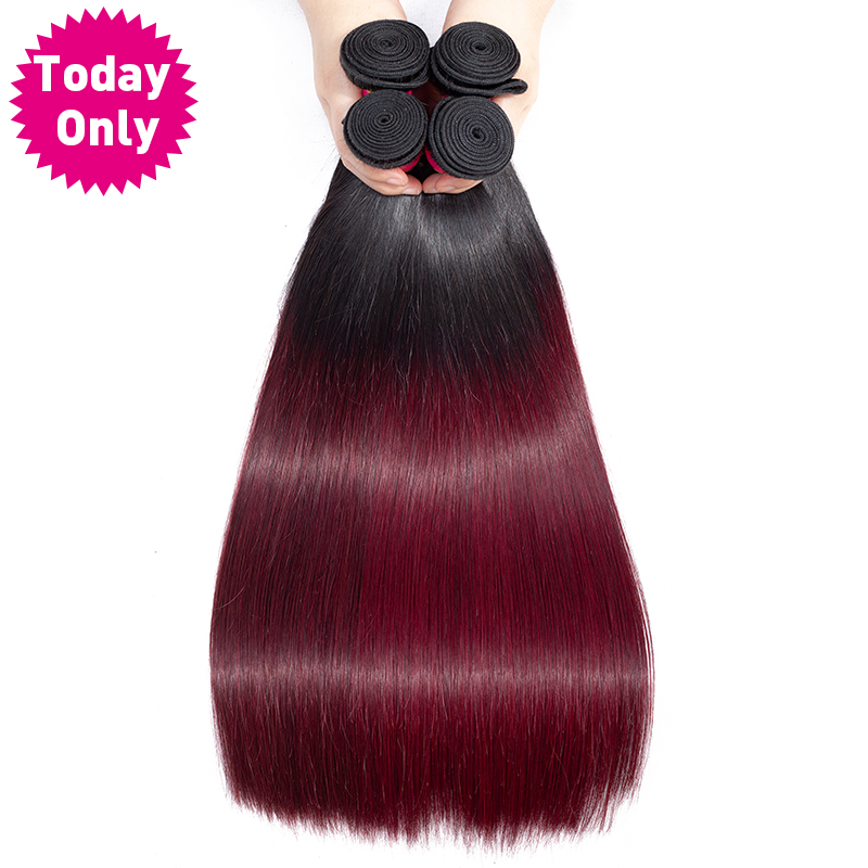 Get This Today Only 13 4 Bundles Burgundy Brazilian Straight Hair