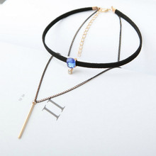 Korean jewelry double blue imitation gemstone clavicle chain tassel leather necklace vertical bar ornaments Steampunk(China)