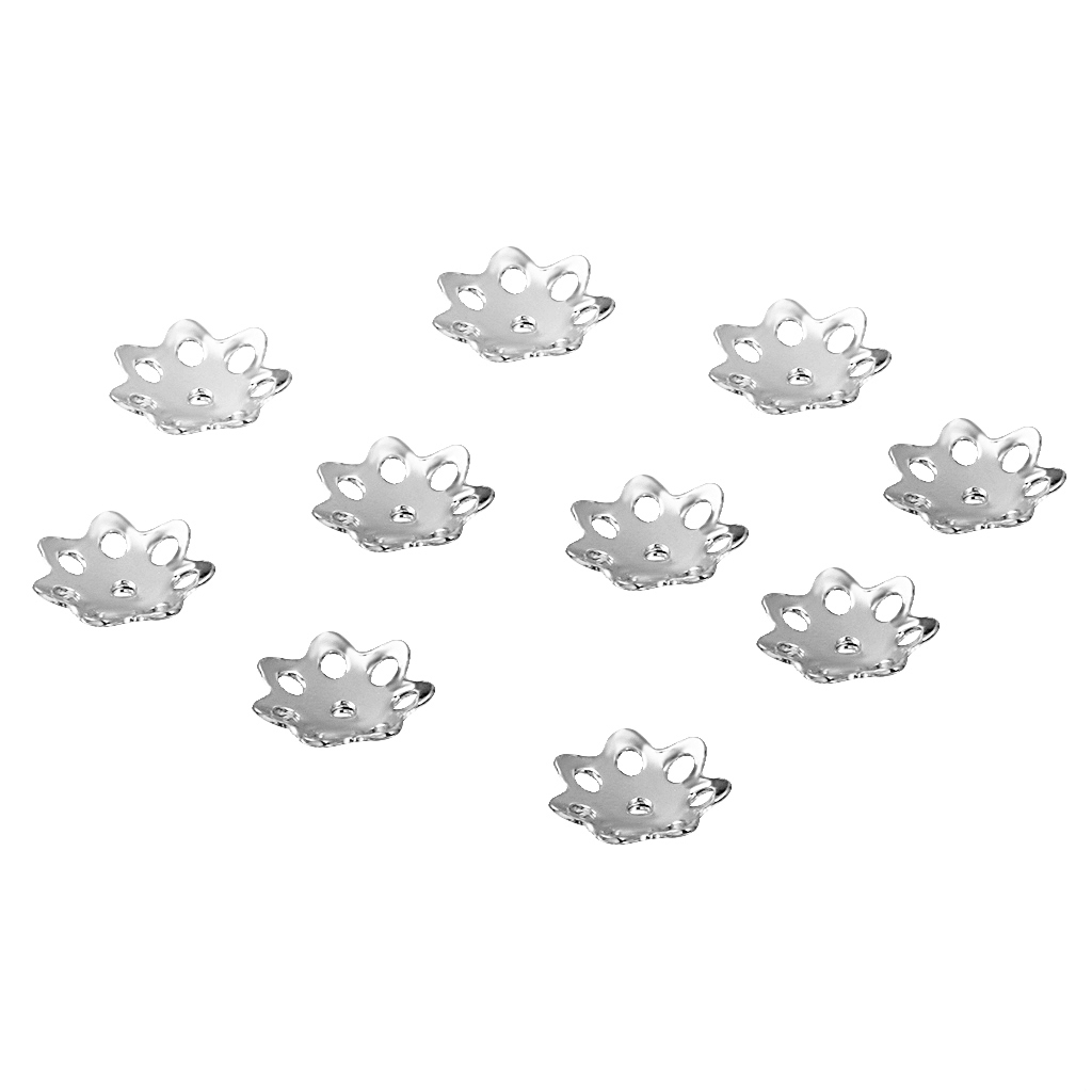 Phenovo 5 mm Flower Bead Caps Jewelry findings Silver Pack Of 10PCS