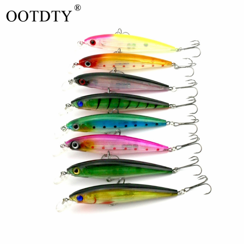 OOTDTY 43Pcs 6 Groups Fish Like Fishing Bait Lure Hook Crankbait Spinner Accessory Tool portable 2 layers many compartments visible pvc fishing lure bait hooks fish tackle box accessory storage box case fishing tool
