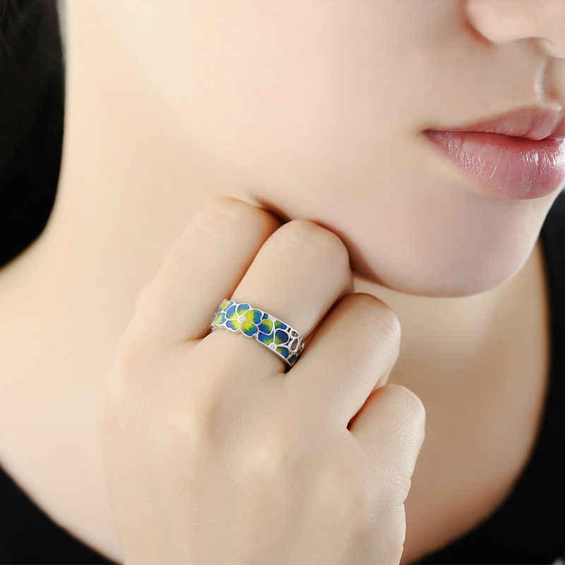 SANTUZZA טבעות לאישה צבעוני שקיפות אמייל פרח טבעת צהוב מעוקב Zirconia CZ טבעת מסיבת תכשיטים בעבודת יד