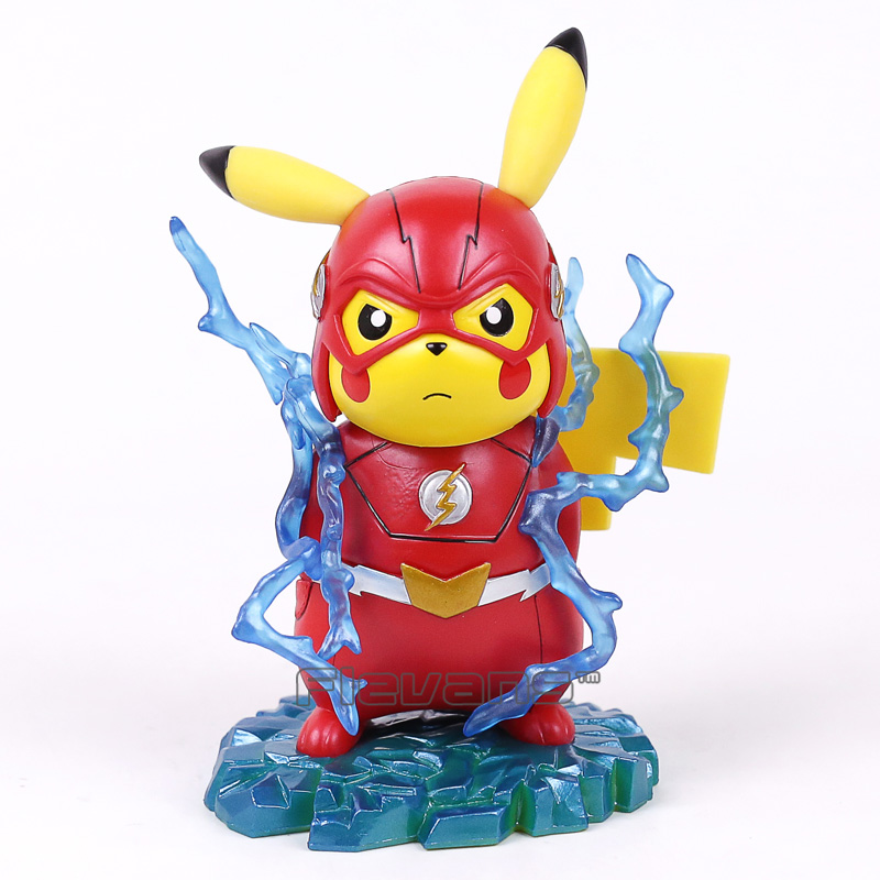 Pikachu Cosplay The Flash Cartoon Funny Creative Design PVC Figure Collectible Model Toy 14cm the flash funko pop the flash pvc action figure collectible model toy christmas gift