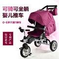 2016 novo design de gêmeos Do Bebê triciclo carrinho de criança dobrável carro carrinho de criança lie down + passeio de bicicleta Multifunções + sentar para 0-6 anos