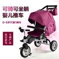 2016 nuevo diseño gemelos cochecito de Bebé de tres ruedas carro de niño plegable del coche bicicleta Multifunción acostarse + montar + reposar durante 0-6 años