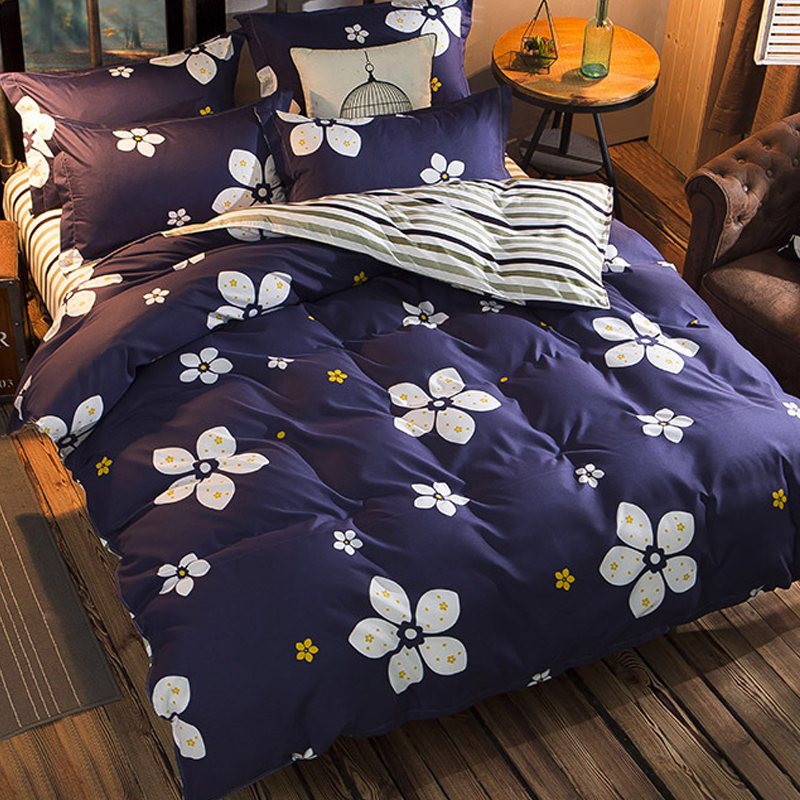 Chrysanthemum Flower Floral Blue Gray Stripe AB Side King Queen Double Size Duvet Cover 1.5m 1.8m 2m 2.2m Bed Sheet Bedlinen Kid