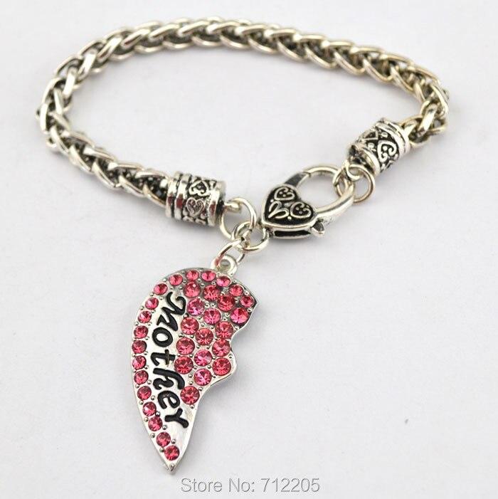 5 комплектов в партии родиевое покрытие мать и дочь с розовой подвеска в форме сердца с кристаллами браслет на крючке Омаров