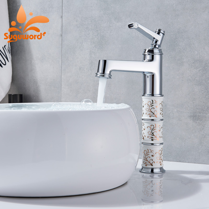 Suguword Chrome Basin Faucet Deck Mounted Mixer Tap Hot and Cold Water Single Handle One Hole Pattern shell starfish deck pattern water absorption area rug