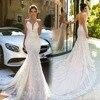 Vestidos De Novia 2017 Mermaid Wedding Dresses Sleeveless Sheer Neck Sweep Train Robe De Mariage Sexy