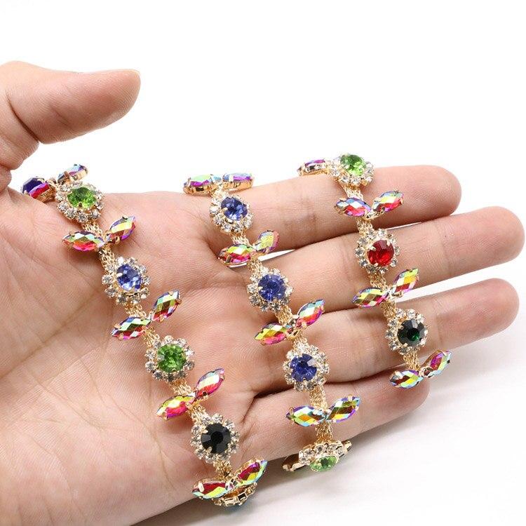 5 Yards/lot or métal multicolore fleur strass cristal chaîne garniture pour ceintures robe cheveux tiare sacs vêtements accessoires