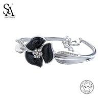 SA SILVERAGE Real 925 Sterling Silver Flower Chain Bracelet For Women Fine Jewelry Black Aventurine 2017