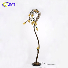 FUMAT Flower Floor Lamps Metal Glass Art Deco Light Living Room Nordic Pastoral Light For Bed Room Yellow Glass Shade LED Lights