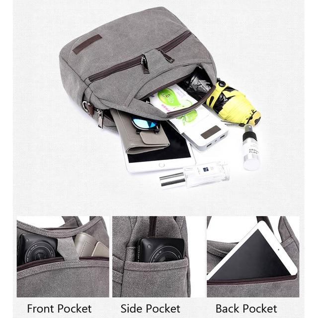 Women's Canvas Handbags Female Hobos Single Shoulder Bags Woman Crossbody Pack Solid Multi-pocket Ladies Totes 3