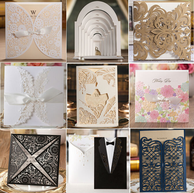 Brand Quality White Lace Bow Elegant Laser Cut Wedding Invitations Card Supplies 10pcs Lot Free