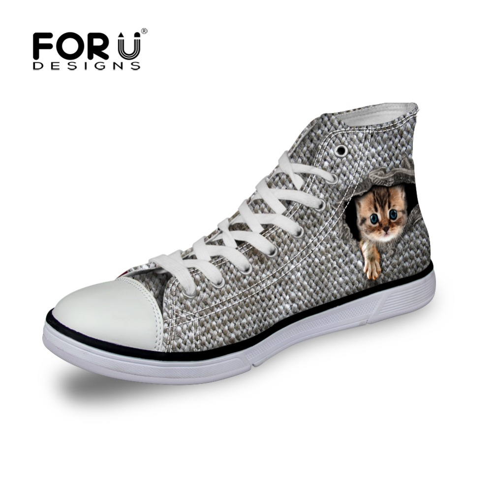 FORUDESIGNS 3D Animal Cute Cat Print Shoes Women Casual High Top Canvas Shoes Lace-up Flat Shoes Teenager Girls Student Walking hot sale 2016 top quality brand shoes for men fashion casual shoes teenagers flat walking shoes high top canvas shoes zatapos