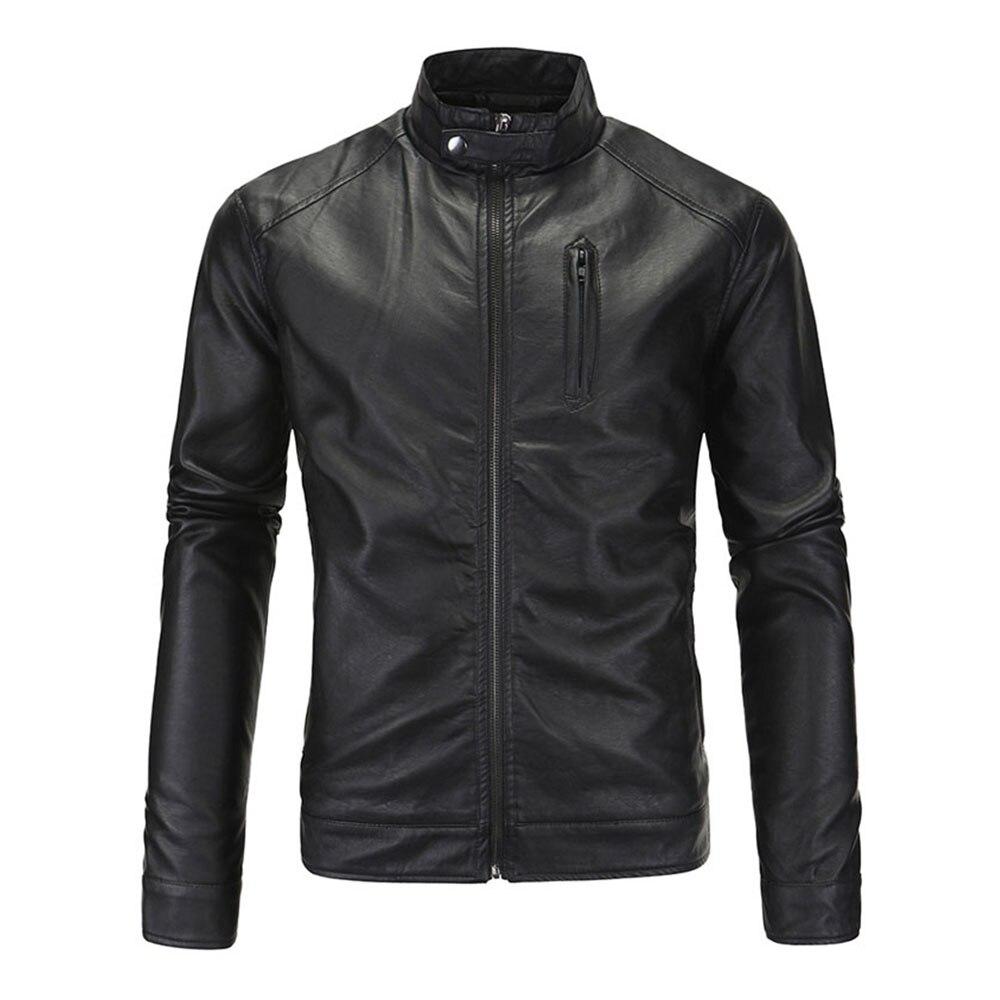 Herobiker Retro Classic Faux Leather Motorcycle Jacket Men Punk Windproof Moto Jacket Clothing Zipper Motorbike Coat Size M-5XL