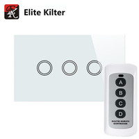 Elite Kilter US Standard Remote Control Touch Switch 3 Gang 1 Way White Crystal Glass For