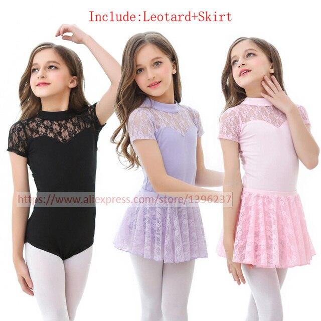 Балетные пачки платья для девочек Новое поступление без рукавов кружева практика танцевальный костюм трико с юбкой детские черные балетные юбки
