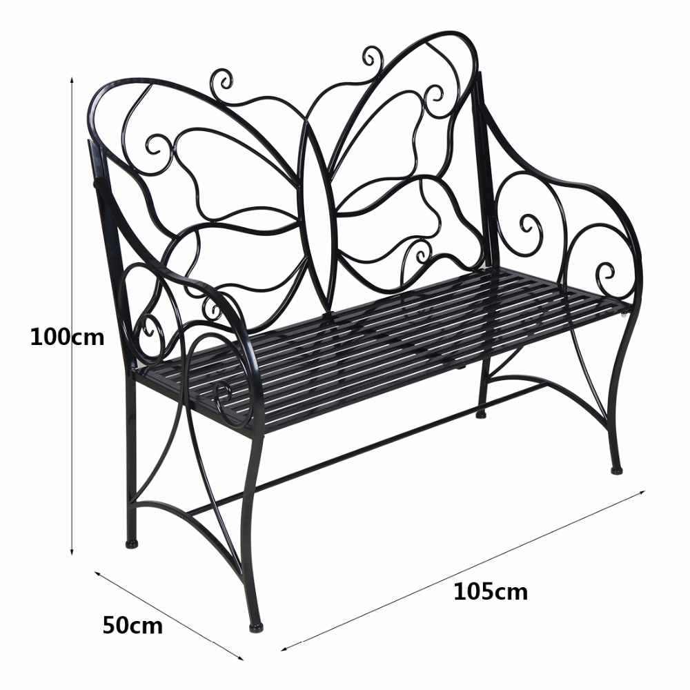 HLC Metal Antique Garden Bench Outdoor Double Seat With Decorative  Butterfly Cast Iron Backrest In Garden Chairs From Furniture On  Aliexpress.com | Alibaba ...