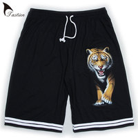 TASTIEN Tiger Printed Mens Shorts 2018 High Quality Breathable 3D Shorts Casual Loose Homme Plus Size